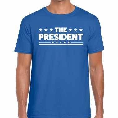 Toppers - the president heren t-shirt blauwcarnavalskleding