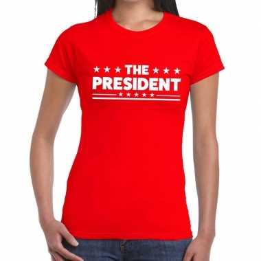 Toppers - the president tekst t-shirt rood damescarnavalskleding