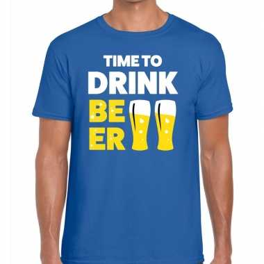 Toppers - time to drink beer heren t-shirt blauwcarnavalskleding