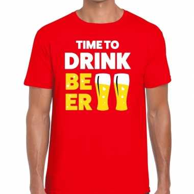 Toppers - time to drink beer heren t-shirt roodcarnavalskleding