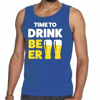 Toppers - time to drink beer tekst tanktop / mouwloos shirt blauw car