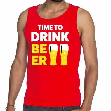Toppers - time to drink beer tekst tanktop / mouwloos shirt roodcarna