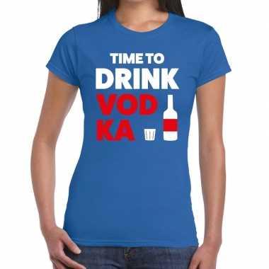 Toppers - time to drink vodka tekst t-shirt blauw damescarnavalskledi