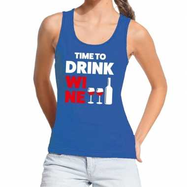 Toppers - time to drink wine tekst tanktop / mouwloos shirt blauw dam