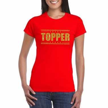 Toppers - topper t-shirt rood met gouden glitters damescarnavalskledi