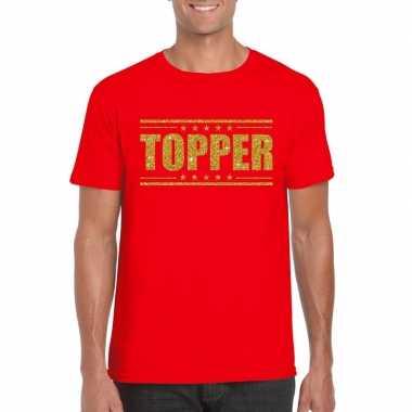 Toppers - topper t-shirt rood met gouden glitters herencarnavalskledi