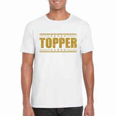 Toppers - topper t-shirt wit met gouden glitters herencarnavalskledin