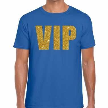 Toppers - vip glitter goud heren t-shirt blauwcarnavalskleding
