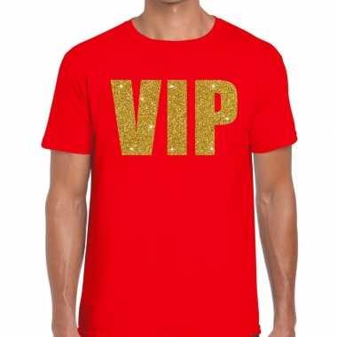 Toppers - vip glitter goud heren t-shirt roodcarnavalskleding