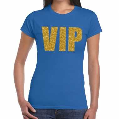 Toppers - vip glitter goud tekst t-shirt blauw damescarnavalskleding
