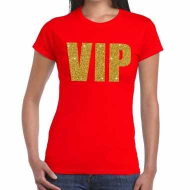 Toppers - vip glitter goud tekst t-shirt rood damescarnavalskleding