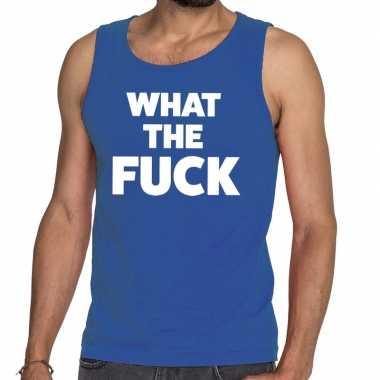 Toppers - what the fuck tekst tanktop / mouwloos shirt blauw voor her