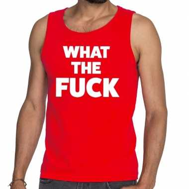Toppers - what the fuck tekst tanktop / mouwloos shirt rood carnavals