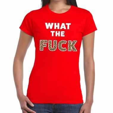 Toppers - what the fuck tijgerprint tekst t-shirt rood damescarnavals
