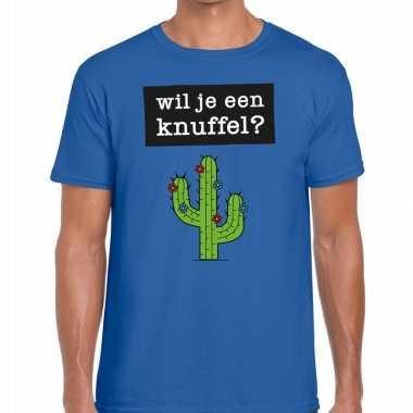 Toppers - wil je een knuffel heren t-shirt blauwcarnavalskleding