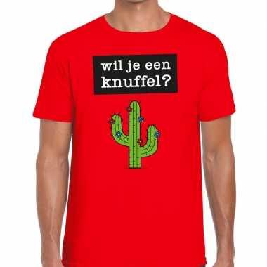 Toppers - wil je een knuffel heren t-shirt roodcarnavalskleding