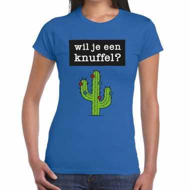 Toppers - wil je een knuffel tekst t-shirt blauw damescarnavalskledin