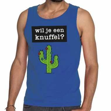 Toppers - wil je een knuffel tekst tanktop / mouwloos shirt blauwcarn