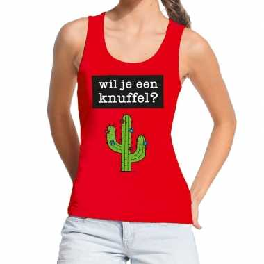 Toppers - wil je een knuffel tekst tanktop / mouwloos shirt rood dame