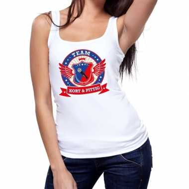 Toppers - wit kort en pittig team tanktop / mouwloos shirt damescarna