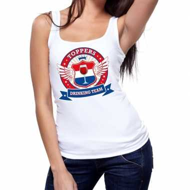 Toppers - wit toppers drinking team tanktop / mouwloos shirt damescar
