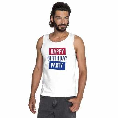 Toppers - wit toppers happy birthday party mouwloos shirt herencarnav