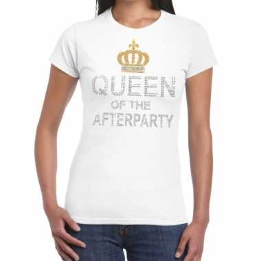 Toppers - wit toppers queen of the afterparty glitter t-shirt damesca