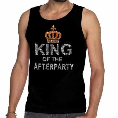 Toppers - zwart toppers king of the afterparty glitter tanktop shirt