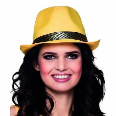 Trilby hoed geel voor volwassenencarnavalskleding