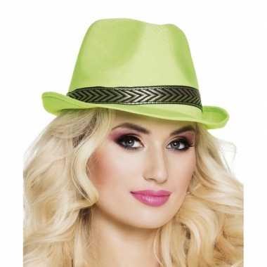 Trilby hoed lime groen voor volwassenencarnavalskleding