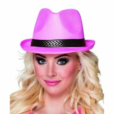 Trilby hoed roze voor volwassenencarnavalskleding