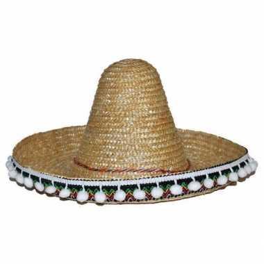 Verkleed accessoire beige sombrero kids 25 cmcarnavalskleding