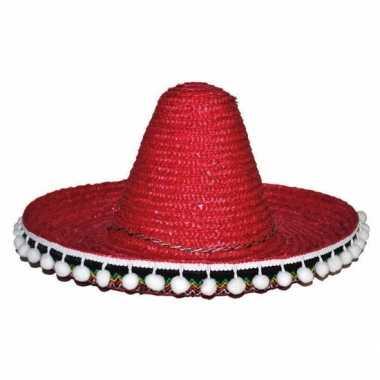 Verkleed accessoire rode sombrero kids 25 cmcarnavalskleding