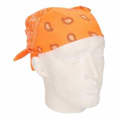 Verkleed bandana neon oranjecarnavalskleding