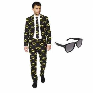 Verkleed batman print heren kostuum maat 50 (l) met gratis zonnebrilc