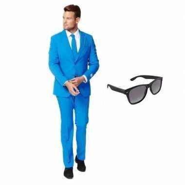 Verkleed blauw net heren kostuum maat 50 (l) met gratis zonnebrilcarn