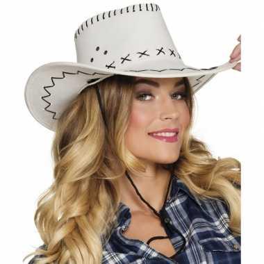 Verkleed cowboyhoeden elroy wit met lederlookcarnavalskleding