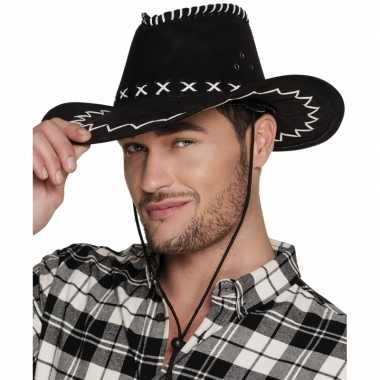 Verkleed cowboyhoeden elroy zwart met lederlookcarnavalskleding