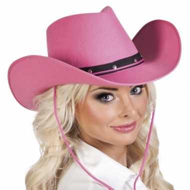 Verkleed dames cowboyhoeden wichita roze viltcarnavalskleding