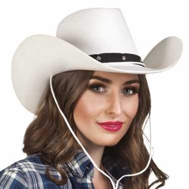 Verkleed dames cowboyhoeden wichita wit viltcarnavalskleding