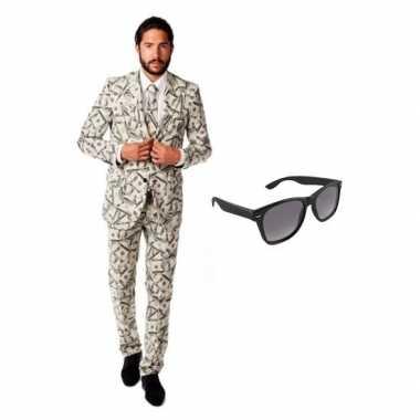 Verkleed dollar print heren kostuum maat 50 (l) met gratis zonnebrilc