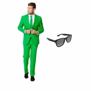 Verkleed groen net heren kostuum maat 52 (xl) met gratis zonnebrilcar