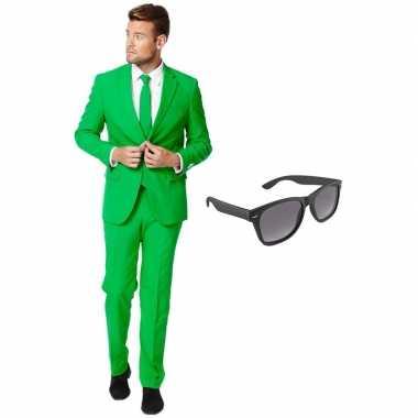 Verkleed groen net heren kostuum maat 54 (xxl) met gratis zonnebrilca