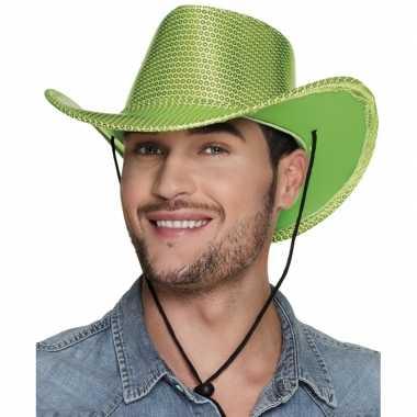 Verkleed grote cowboyhoeden lime groen met paillettencarnavalskleding