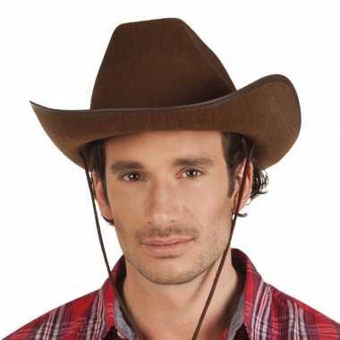 Verkleed grote cowboyhoeden rodeo bruin met lederlookcarnavalskleding
