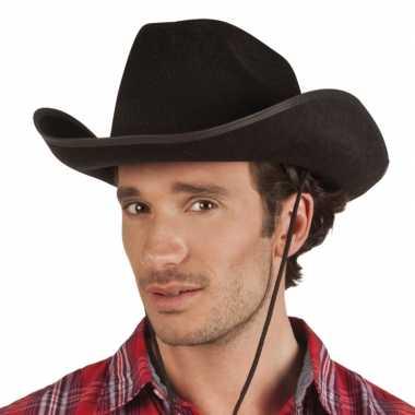 Verkleed grote cowboyhoeden rodeo zwart met lederlookcarnavalskleding