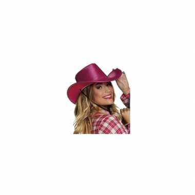 Verkleed grote cowboyhoeden roze met paillettencarnavalskleding
