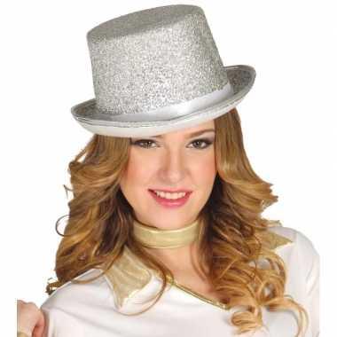 Verkleed hoge hoed zilveren glitterscarnavalskleding