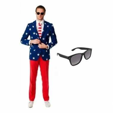 Verkleed met amerikaanse vlag print heren kostuum maat 48 (m) met gra
