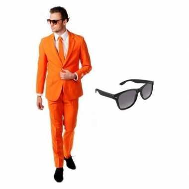 Verkleed oranje net heren kostuum maat 50 (l) met gratis zonnebrilcar